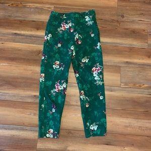 Green Floral Ankle Length Flora H&M pants size 8